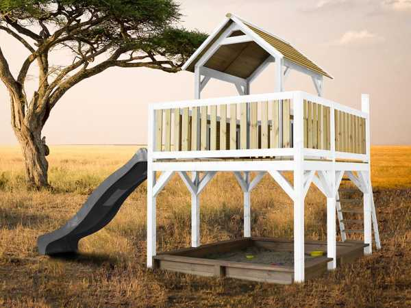 Spielturm Atka braun/weiß mit grauer Rutsche