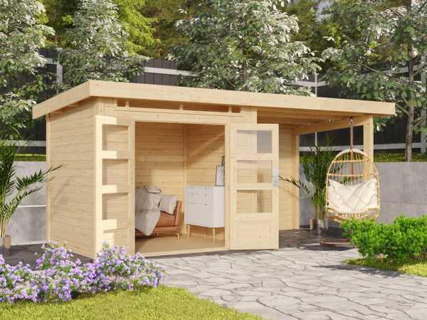 Gartenhaus SET Kandern 2 28 mm naturbelassen, inkl. 2,6 m Anbaudach + Rückwand