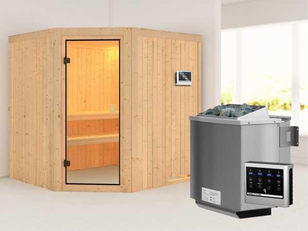 """Sauna """"Bodo"""" mit bronzierter Glastür + 9 kW Bio-Kombiofen mit ext. Strg."""
