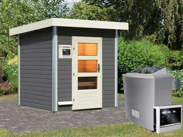 Saunahaus Torge Grau mit Klarglastür, inkl. 9 kW Saunaofen mit externer Steuerung