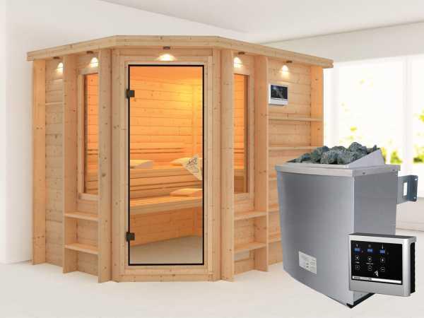 Sauna Massivholzsauna Riona inkl. 9 kW Saunaofen ext. Steuerung
