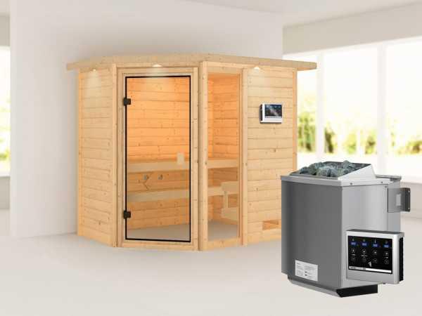 """Sauna """"Jada"""" mit bronzierter Glastür und Dachkranz + 9 kW Bio-Kombiofen ext. Strg."""