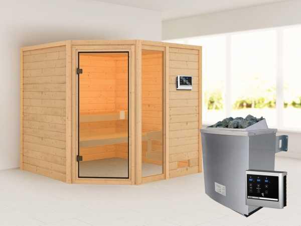 Sauna Tabea mit bronzierter Glastür + 9 kW Saunaofen ext. Strg.