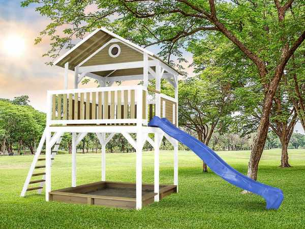 Spielturm Woody braun/weiß mit blauer Rutsche