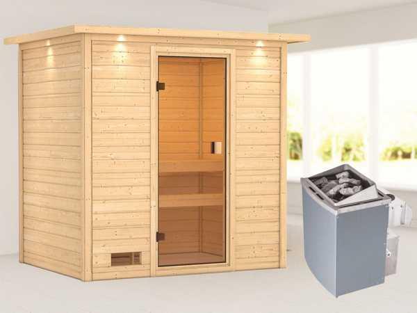 """Sauna """"Selena"""" mit bronzierter Glastür und Dachkranz + 9 kW Saunaofen integr. Strg."""