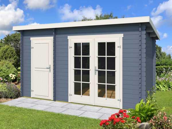 Gartenhaus Blockbohlenhaus Belmont 1 28 mm taubenblau
