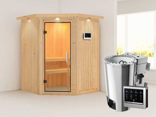Sauna Systemsauna Nanja mit Dachkranz, Klarglas Ganzglastür + Plug & Play Bio-Ofen mit ext. Strg