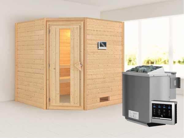Sauna Massivholzsauna Nina Energiespartür + 9 kW Bio-Kombiofen mit ext. Strg