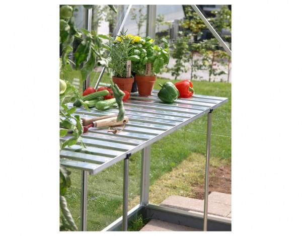 Gewächshaus Zubehör Abklappbarer Tisch aus Aluminium, Aluminium-blank eloxiert