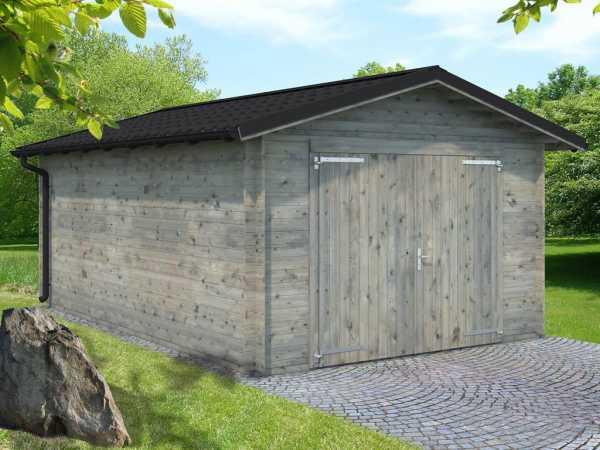 Garage Tomas 19,2 m² mit Holztor 34 mm grau tauchimprägniert