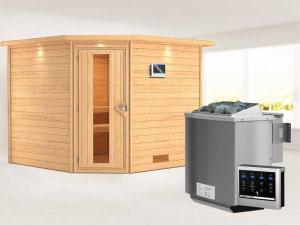 Sauna Massivholzsauna Leona mit Dachkranz, Energiespartür + 9 kW Bio-Kombiofen mit ext. Strg