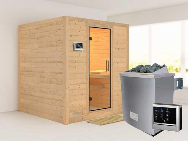 Sauna Massivholzsauna SPARSET Fucata inkl. 9 kW Saunaofen mit ext. Steuerung, klare Glastür
