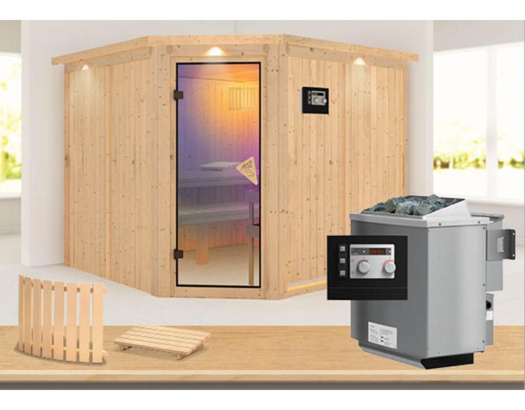 sauna systemsauna sparset farin mit dachkranz inkl 9 kw bio ofen ext steuerung led. Black Bedroom Furniture Sets. Home Design Ideas