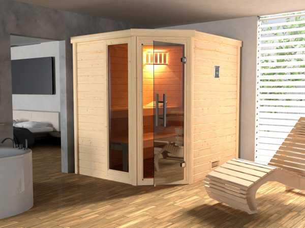 Sauna Massivholzsauna SPARSET 1 Turku 1 GTF inkl. 7,5 kW Ofen mit ext. Steuerung & Anschlusskabel