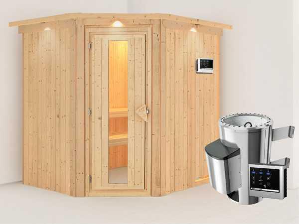 Sauna Systemsauna Lilja mit Dachkranz, Energiespartür + Plug & Play Saunaofen mit ext. Steuerung