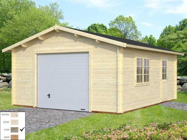 """Garage """"Roger"""" 23,9 m² mit Sektionaltor 44 mm grau tauchimprägniert"""
