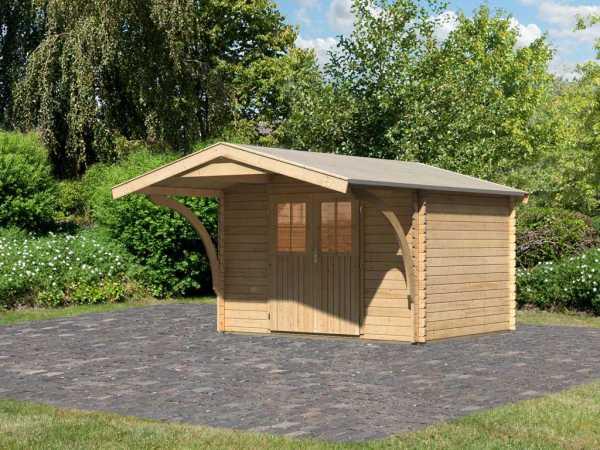 """Gartenhaus Blockbohlenhaus """"Buxtehude 3"""" 28 mm naturbelassen inkl. Vordach"""
