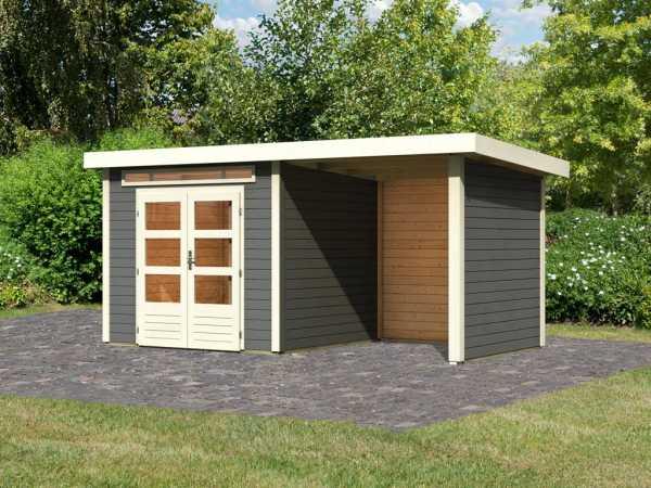Gartenhaus SET Kandern 3 28 mm terragrau, inkl. 2,6 m Anbaudach + Seiten- und Rückwand