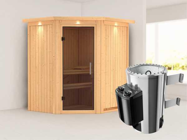 Sauna Systemsauna Tonja mit Dachkranz, graphit Ganzglastür + Plug & Play Saunaofen mit Steuerung