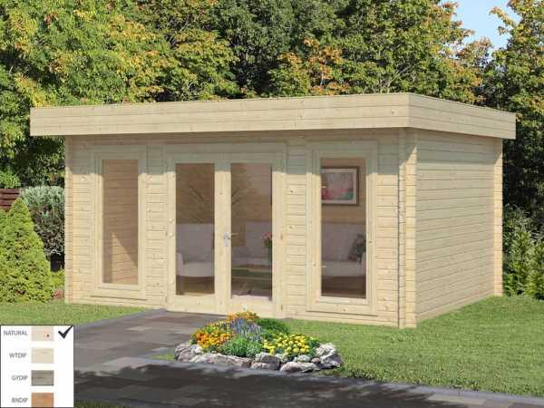 """Gartenhaus Blockbohlenhaus """"Bret"""" 14,8 m² 44 mm naturbelassen"""