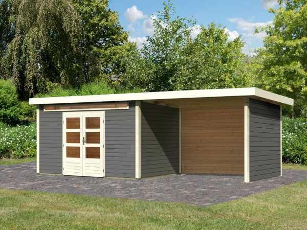 Gartenhaus SET Kandern 7 28 mm terragrau, inkl. 3,2 m Anbaudach + Seiten- und Rückwand