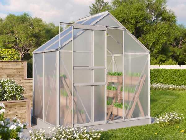 Gewächshaus Diantha Hohlkammerplatte 4 mm, 2,5 m², Aluminium eloxiert