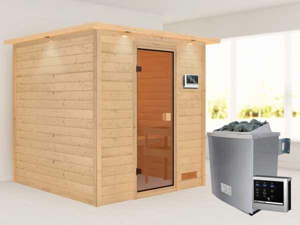 """Sauna """"Jara"""" mit bronzierter Glastür und Dachkranz + 9 kW Saunaofen ext. Strg."""