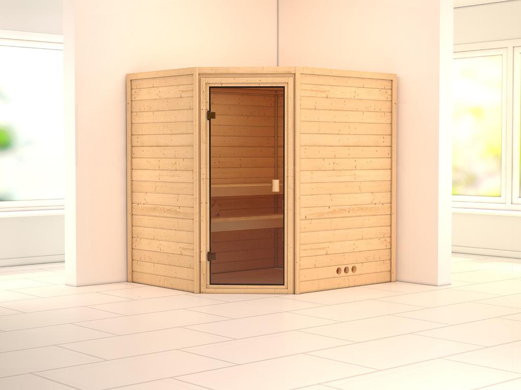 massivholzsauna sparset mila ganzglast r bronziert inkl 9 kw ofen mit ext steuerung 570150. Black Bedroom Furniture Sets. Home Design Ideas
