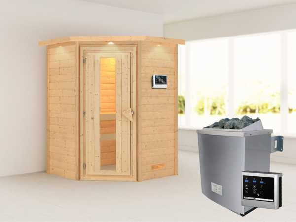 """Sauna Massivholzsauna """"Franka"""" mit Dachkranz, Energiespartür + 9 kW Saunaofen mit ext. Strg"""