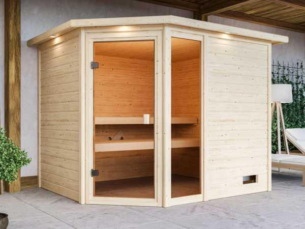 Sauna Lola mit bronzierter Glastür und Dachkranz + 9 kW Saunaofen integr. Strg.