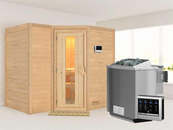 """Massivholzsauna """"Sahib 2"""" Holztür mit Isolierglas, inkl. 9 kW Bio-Ofen ext. Steuerung"""