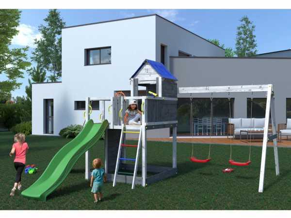 """Spielturm SPARSET """"Treehouse"""" grau/weiß inkl. Rutsche grün"""
