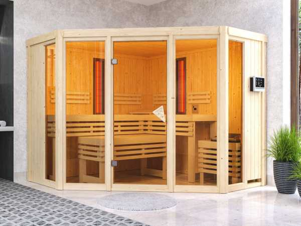 Multifunktionssauna Asta mit bronzierter Glastür + 9 kW Saunaofen ext. Strg.