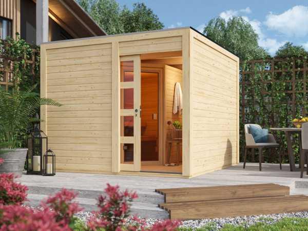Saunahaus Caju mit Schiebetür, inkl. 9 kW Bio-Ofen mit externer Steuerung