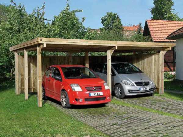 Flachdach-Doppelcarport 618 Gr. 1, ohne Dachplatten