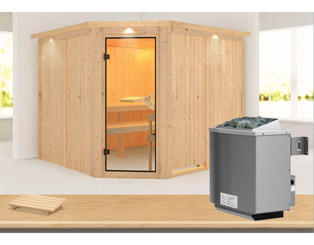 sauna systemsauna farin mit dachkranz inkl 9 kw. Black Bedroom Furniture Sets. Home Design Ideas