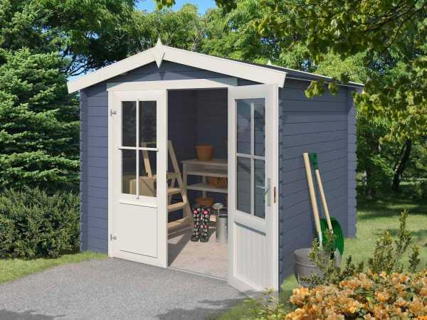 Gartenhaus Blockbohlenhaus Chicago 28 mm taubenblau