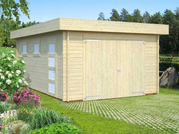 Garage Rasmus 19,0 m² mit Holztor 44 mm naturbelassen