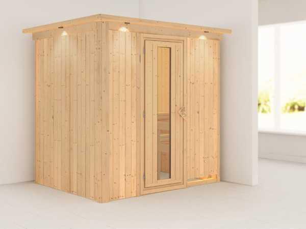 Systemsauna Bodin mit Dachkranz, Holztür mit Isolierglas