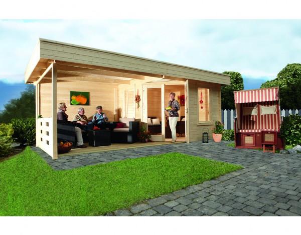 Gartenhaus Blockbohlenhaus Nina 28-B Terrassenhaus 28 mm naturbelassen