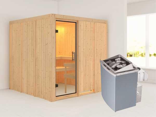 Sauna Systemsauna Rodin Klarglas Ganzglastür + 9 kW Saunaofen mit Steuerung
