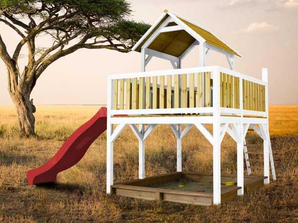 Spielturm Atka braun/weiß mit roter Rutsche