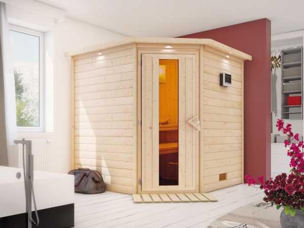 Sauna Massivholzsauna Nina mit Dachkranz, Holztür mit Isolierglas