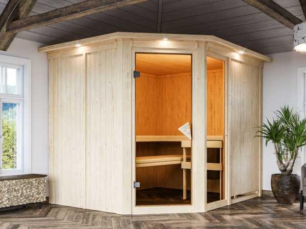 Sauna Systemsauna Fiona 3 mit Dachkranz