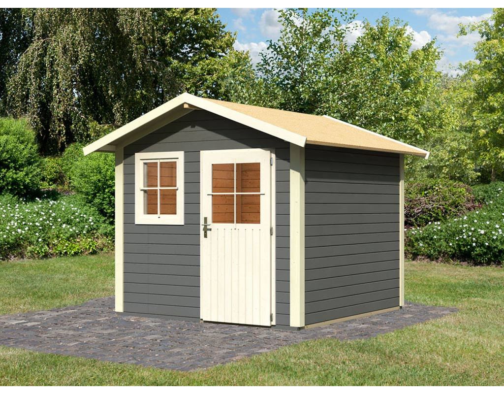 gartenhaus linau 5 28 mm terragrau wo0230. Black Bedroom Furniture Sets. Home Design Ideas
