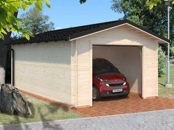 Garage Tomas 19,2 m² mit Sektionaltor 34 mm naturbelassen