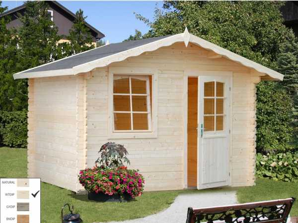 Gartenhaus Blockbohlenhaus Emma 4,6 m² 28 mm transparent tauchimprägniert