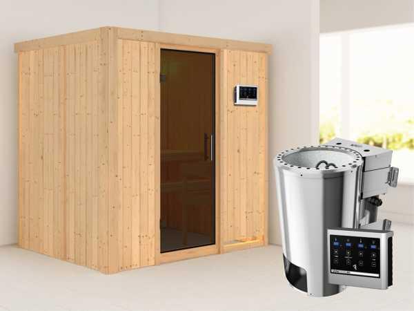 Sauna Systemsauna Fanja graphit Ganzglastür + Plug & Play Bio-Ofen mit externer Steuerung