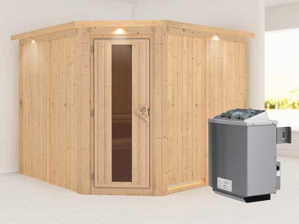 """Sauna Systemsauna """"Farin"""" mit Dachkranz, Energiespartür + 9 kW Saunaofen mit Steuerung"""