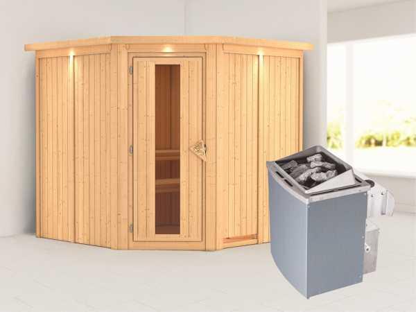 Systemsauna Jarin mit Dachkranz, Holztür mit Isolierglas, inkl. 9 kW Saunaofen integr. Steuerung